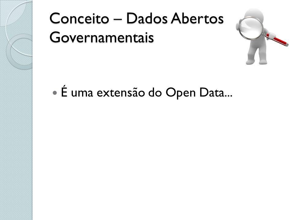 Conceito – Dados Abertos Governamentais É uma extensão do Open Data...