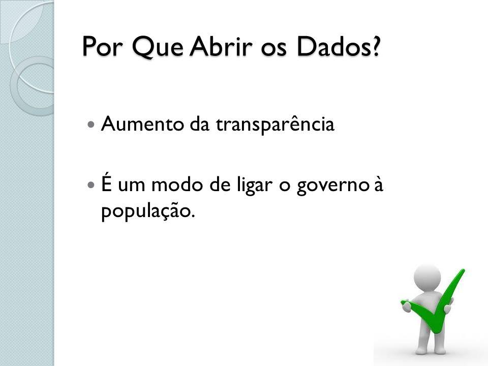 Por Que Abrir os Dados? Aumento da transparência É um modo de ligar o governo à população.