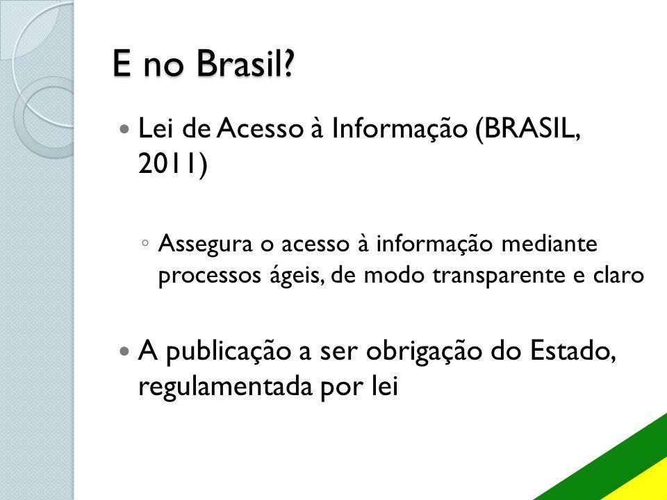 E no Brasil? Lei de Acesso à Informação (BRASIL, 2011) Assegura o acesso à informação mediante processos ágeis, de modo transparente e claro A publica