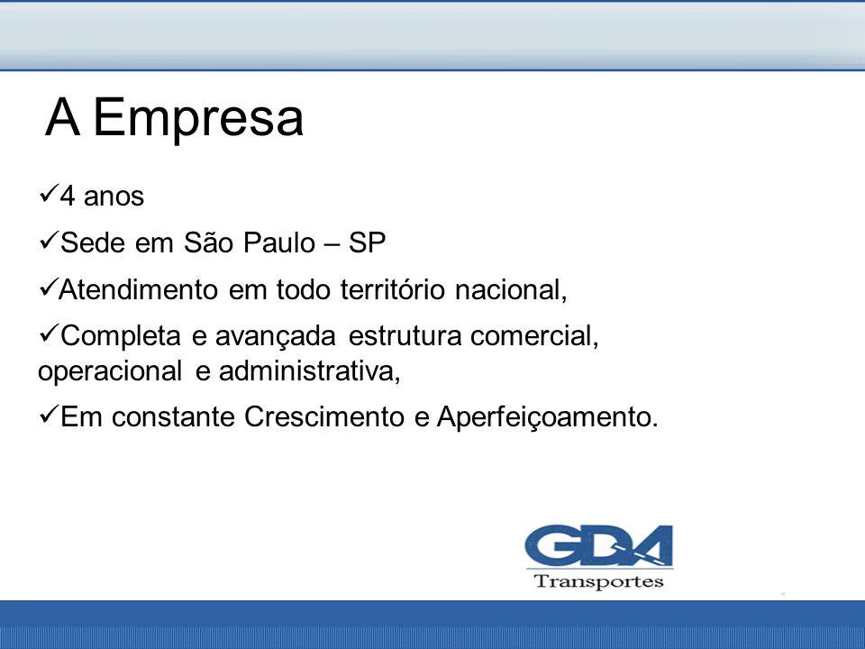 4 anos Sede em São Paulo – SP Atendimento em todo território nacional, Completa e avançada estrutura comercial, operacional e administrativa, Em constante Crescimento e Aperfeiçoamento.