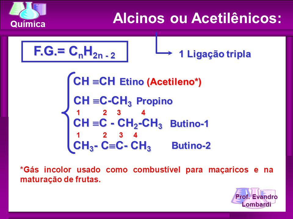 Prof. Evandro Lombardi Química Alcinos ou Acetilênicos: F.G.= C n H 2n - 2 1 Ligação tripla CH CH Etino (Acetileno*) CH C-CH 3 Propino CH C - CH 2 -CH