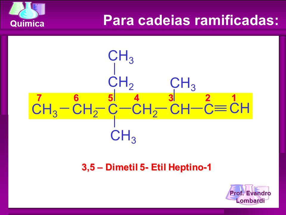 Prof. Evandro Lombardi Química Para cadeias ramificadas: 7 6 5 4 3 2 1 7 6 5 4 3 2 1 3,5 – Dimetil 5- Etil Heptino-1 CH 3 CCH 2 CHCH 3 CH C CH 3 CH 2