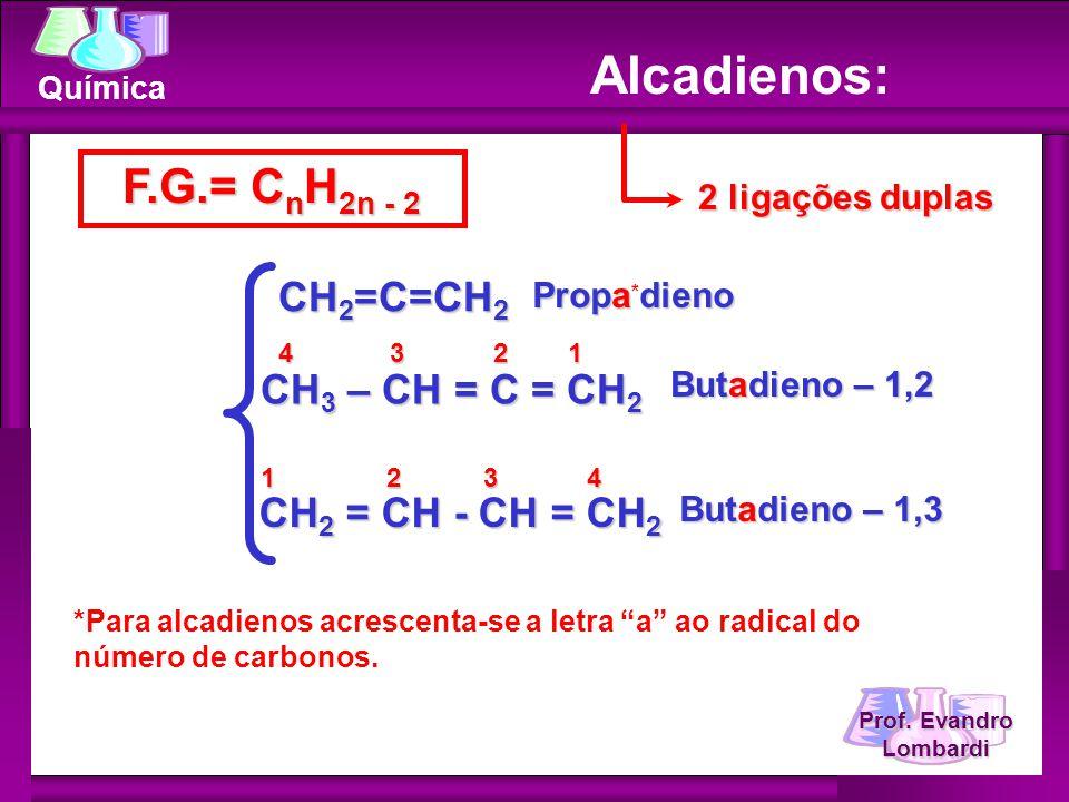 Prof. Evandro Lombardi Química Alcadienos: F.G.= C n H 2n - 2 2 ligações duplas CH 2 =C=CH 2 CH 3 – CH = C = CH 2 4 3 2 1 Butadieno – 1,2 1 2 3 4 Prop