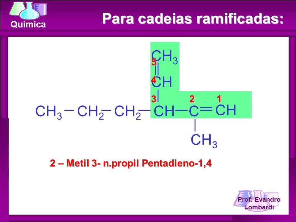 Prof. Evandro Lombardi Química Para cadeias ramificadas: 2 – Metil 3- n.propil Pentadieno-1,4 CH 2 CHCH 3 CH C CH 3 CH CH 2 3 2 1 54