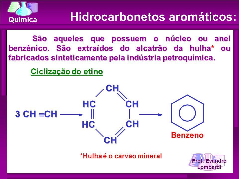 Prof. Evandro Lombardi Química São aqueles que possuem o núcleo ou anel benzênico. São extraídos do alcatrão da hulha* ou fabricados sinteticamente pe