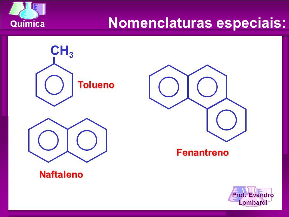 Prof. Evandro Lombardi Química Naftaleno Fenantreno CH 3Tolueno Nomenclaturas especiais: