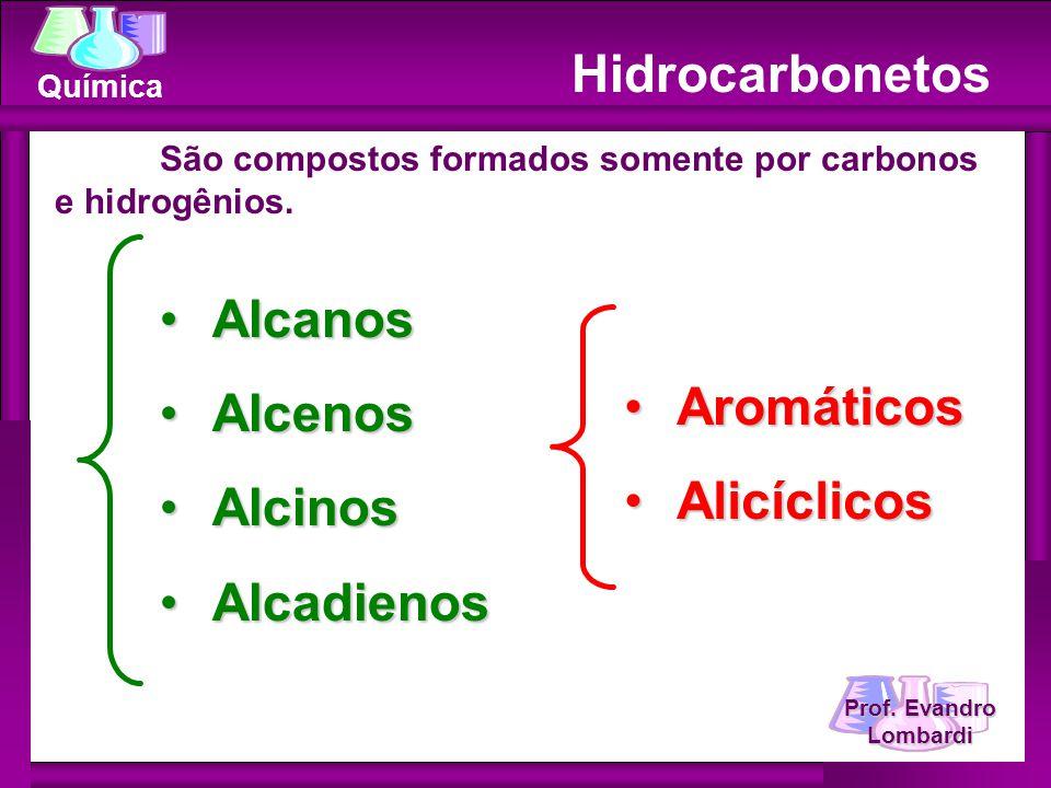 Química Hidrocarbonetos São compostos formados somente por carbonos e hidrogênios. AlcanosAlcanos AlcenosAlcenos AlcinosAlcinos AlcadienosAlcadienos A