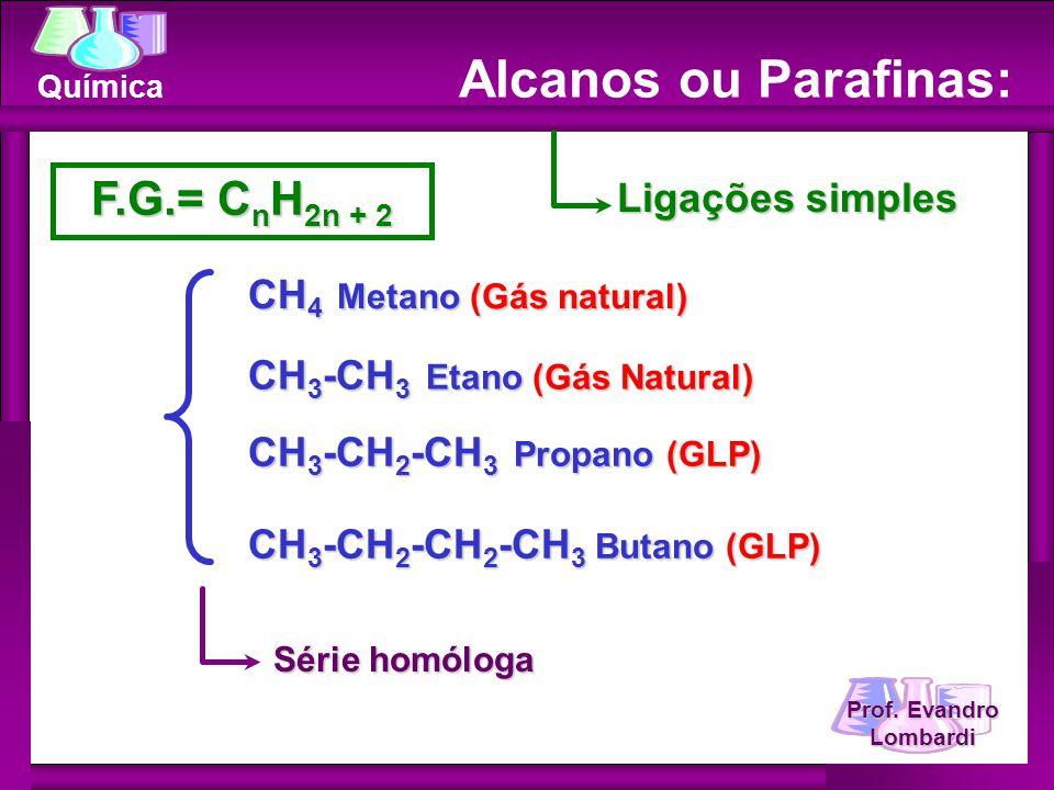Prof.Evandro Lombardi Química CH 3 - metil(a) CH 3 -CH 2 - etil(a) CH 3 -CH 2 -CH 2 -CH 2 - n.
