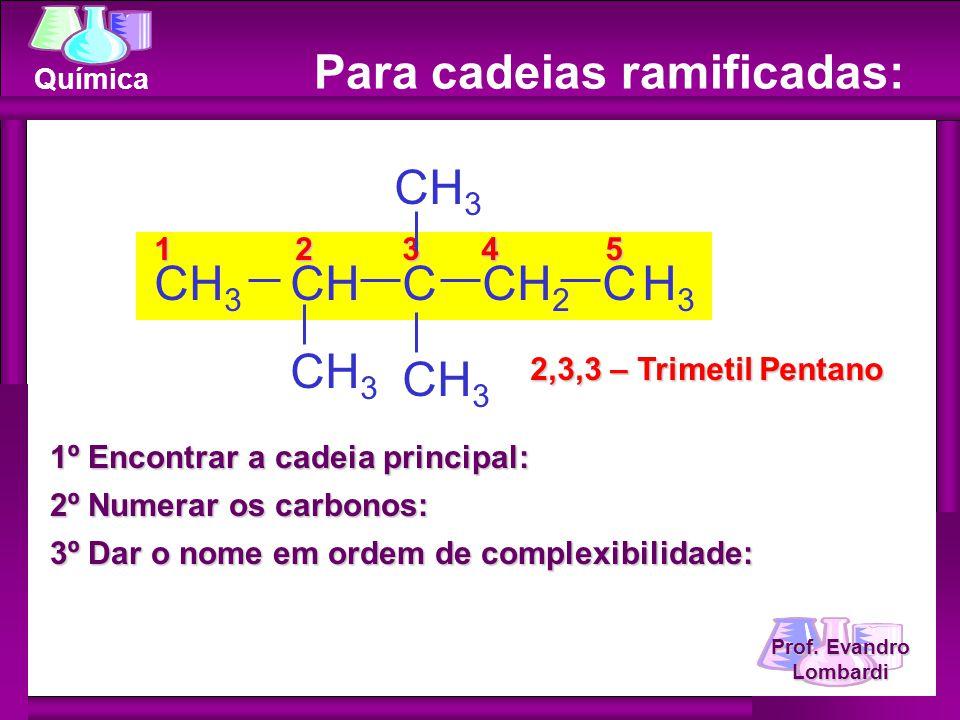 Prof. Evandro Lombardi Química Para cadeias ramificadas: 1º Encontrar a cadeia principal: 2º Numerar os carbonos: 3º Dar o nome em ordem de complexibi