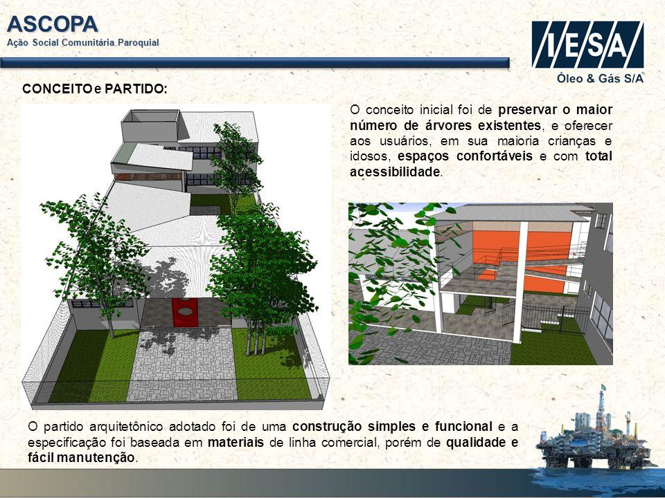 ASCOPA Ação Social Comunitária Paroquial TÉRRO (ENTRADA): A edificação tem uma única entrada, facilitando o controle de acesso e a partir dessa gerou-se uma circulação que distribui os usuários para as três áreas da construção.