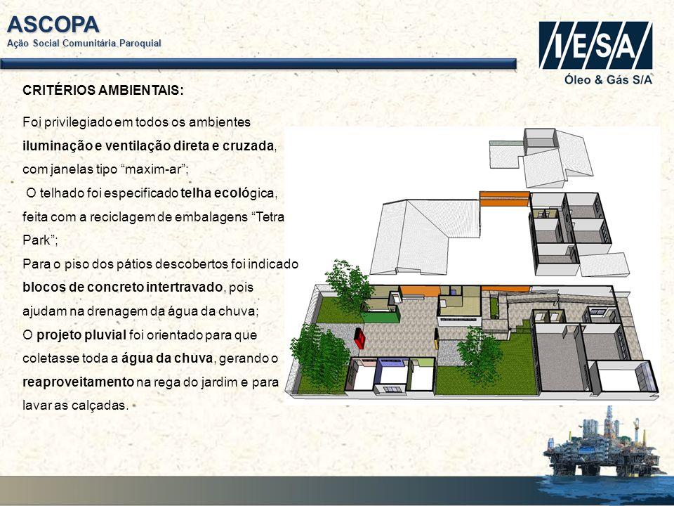 ASCOPA Ação Social Comunitária Paroquial CUSTO DA CONSTRUÇÃO: Foram convidadas várias empresas para cotar a construção.