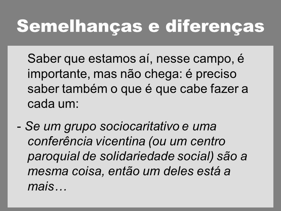 Semelhanças e diferenças Saber que estamos aí, nesse campo, é importante, mas não chega: é preciso saber também o que é que cabe fazer a cada um: - Se um grupo sociocaritativo e uma conferência vicentina (ou um centro paroquial de solidariedade social) são a mesma coisa, então um deles está a mais…