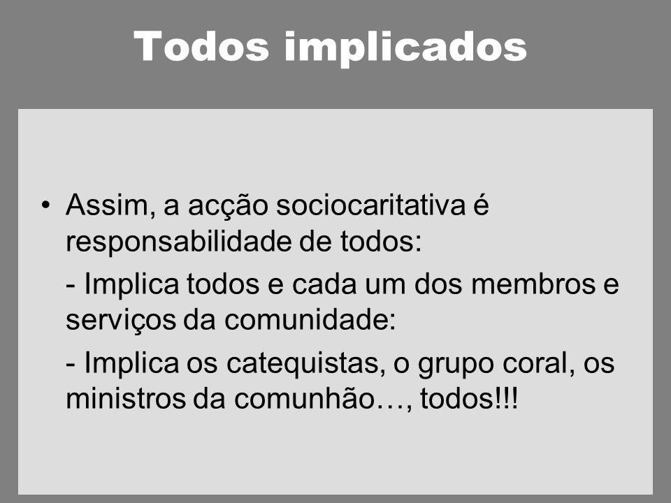 Todos implicados Assim, a acção sociocaritativa é responsabilidade de todos: - Implica todos e cada um dos membros e serviços da comunidade: - Implica os catequistas, o grupo coral, os ministros da comunhão…, todos!!!