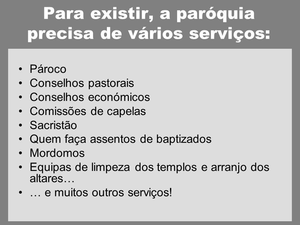 Para existir, a paróquia precisa de vários serviços: Pároco Conselhos pastorais Conselhos económicos Comissões de capelas Sacristão Quem faça assentos de baptizados Mordomos Equipas de limpeza dos templos e arranjo dos altares… … e muitos outros serviços!