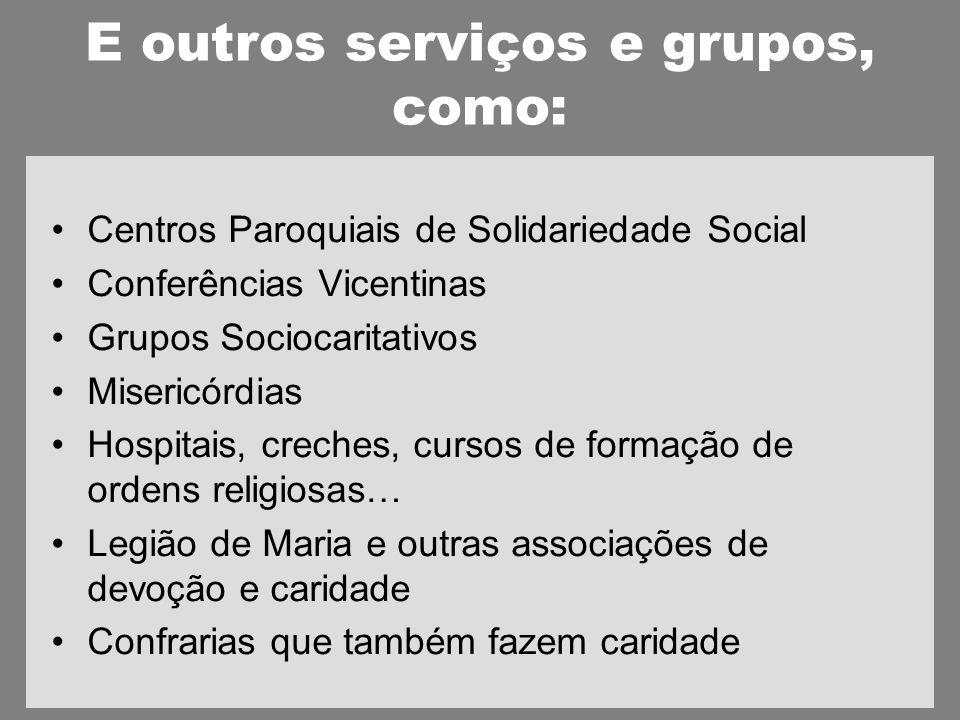 E outros serviços e grupos, como: Centros Paroquiais de Solidariedade Social Conferências Vicentinas Grupos Sociocaritativos Misericórdias Hospitais, creches, cursos de formação de ordens religiosas… Legião de Maria e outras associações de devoção e caridade Confrarias que também fazem caridade