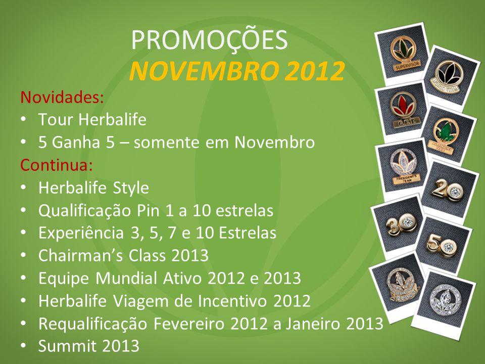 Novidades: Tour Herbalife 5 Ganha 5 – somente em Novembro Continua: Herbalife Style Qualificação Pin 1 a 10 estrelas Experiência 3, 5, 7 e 10 Estrelas