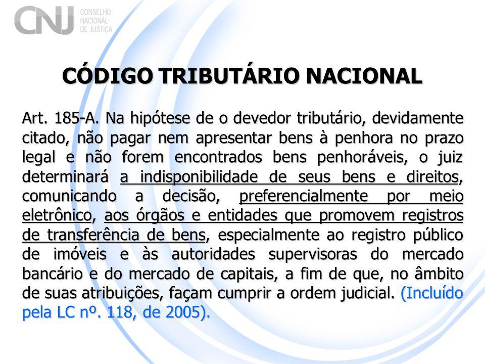 CÓDIGO TRIBUTÁRIO NACIONAL Art. 185-A. Na hipótese de o devedor tributário, devidamente citado, não pagar nem apresentar bens à penhora no prazo legal