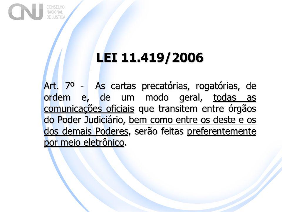 LEI 11.419/2006 Art. 7º - As cartas precatórias, rogatórias, de ordem e, de um modo geral, todas as comunicações oficiais que transitem entre órgãos d