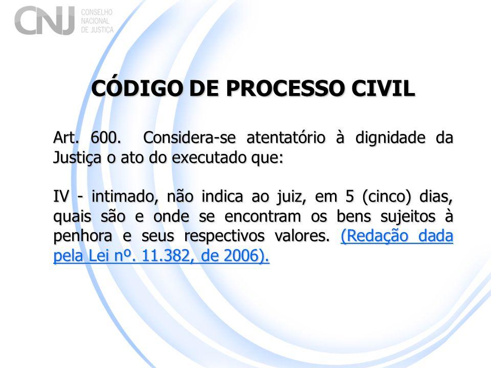 CÓDIGO DE PROCESSO CIVIL Art. 600. Considera-se atentatório à dignidade da Justiça o ato do executado que: IV - intimado, não indica ao juiz, em 5 (ci