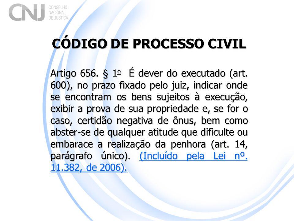 CÓDIGO DE PROCESSO CIVIL Artigo 656. § 1 o É dever do executado (art. 600), no prazo fixado pelo juiz, indicar onde se encontram os bens sujeitos à ex
