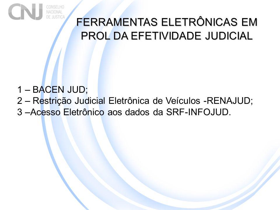 FERRAMENTAS ELETRÔNICAS EM PROL DA EFETIVIDADE JUDICIAL 1 – BACEN JUD; 2 – Restrição Judicial Eletrônica de Veículos -RENAJUD; 3 –Acesso Eletrônico ao