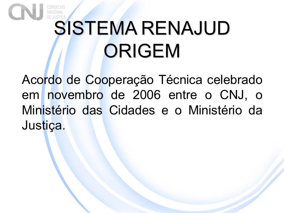 SISTEMA RENAJUD ORIGEM Acordo de Cooperação Técnica celebrado em novembro de 2006 entre o CNJ, o Ministério das Cidades e o Ministério da Justiça.