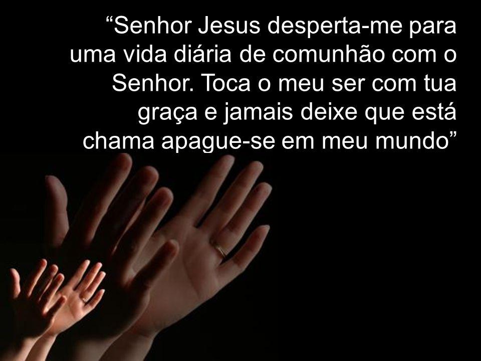 Senhor Jesus desperta-me para uma vida diária de comunhão com o Senhor. Toca o meu ser com tua graça e jamais deixe que está chama apague-se em meu mu