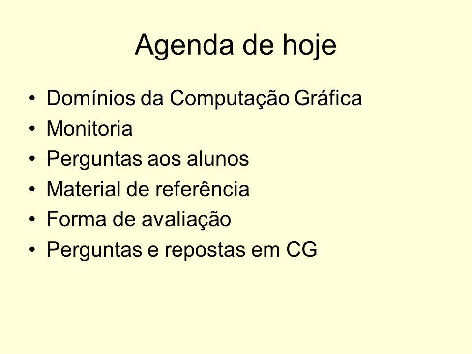 Agenda de hoje Domínios da Computação GráficaDomínios da Computação Gráfica Monitoria Perguntas aos alunos Material de referência Forma de avaliação P