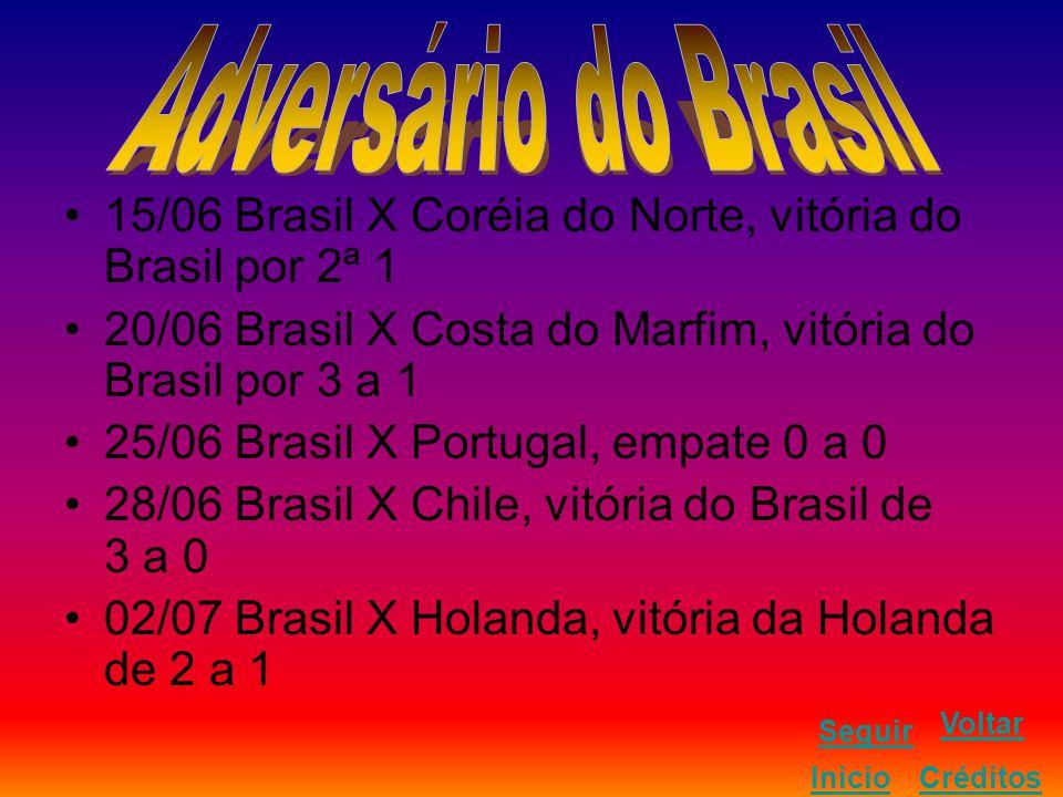 15/06 Brasil X Coréia do Norte, vitória do Brasil por 2ª 1 20/06 Brasil X Costa do Marfim, vitória do Brasil por 3 a 1 25/06 Brasil X Portugal, empate