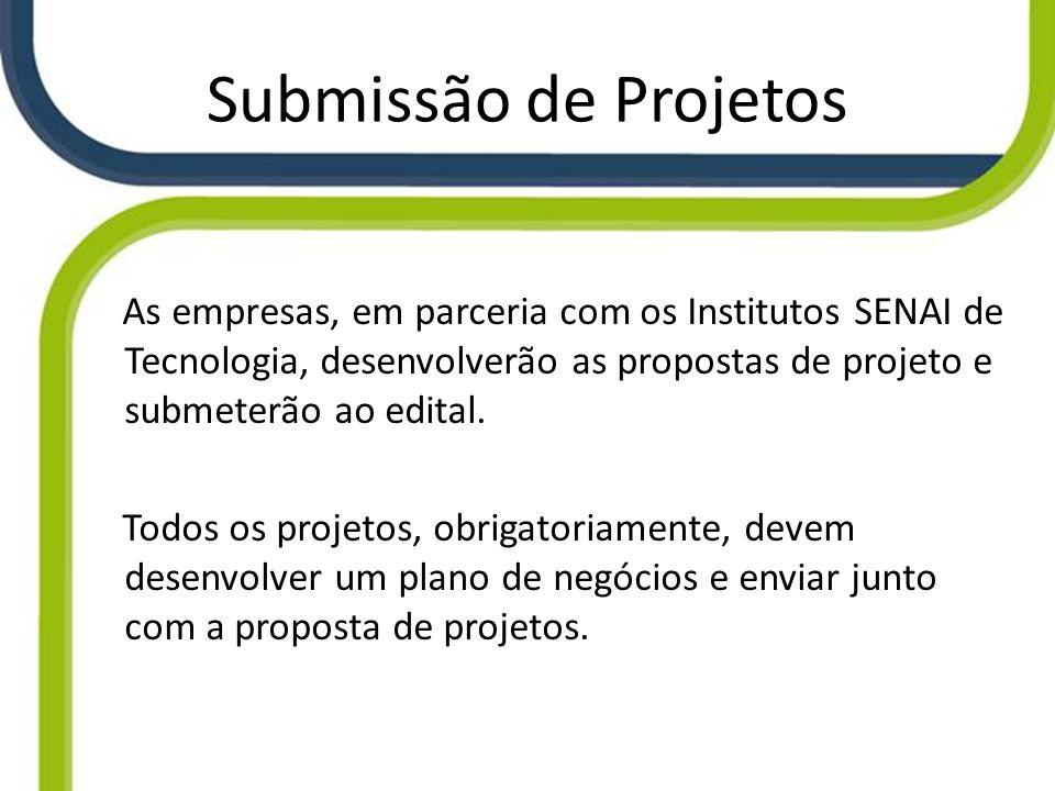 Submissão de Projetos As empresas, em parceria com os Institutos SENAI de Tecnologia, desenvolverão as propostas de projeto e submeterão ao edital. To