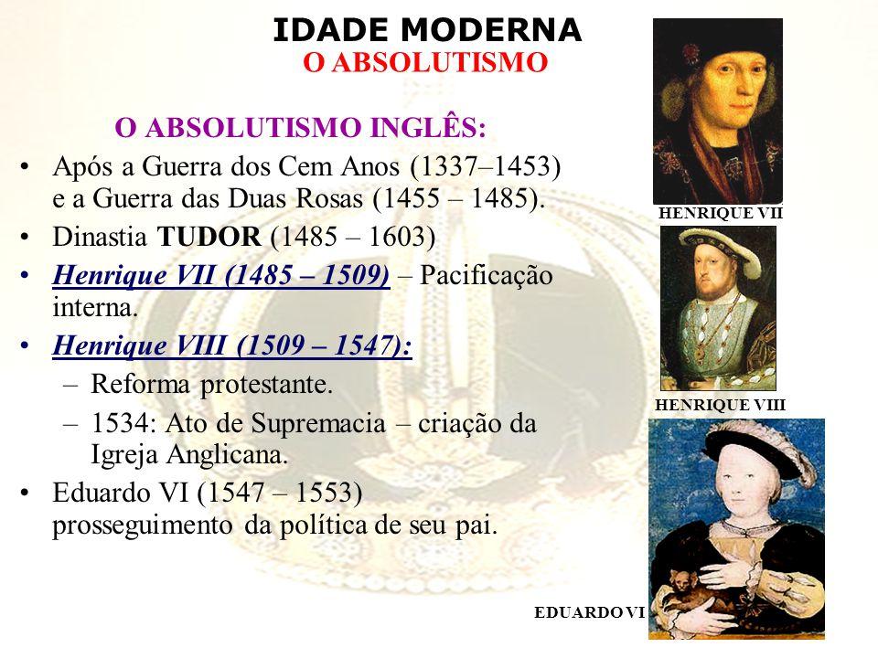 IDADE MODERNA O ABSOLUTISMO O ABSOLUTISMO INGLÊS: Após a Guerra dos Cem Anos (1337–1453) e a Guerra das Duas Rosas (1455 – 1485). Dinastia TUDOR (1485