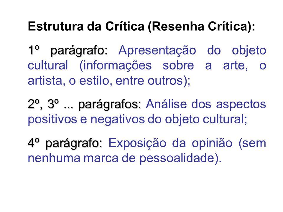 Estrutura da Crítica (Resenha Crítica): 1º parágrafo: 1º parágrafo: Apresentação do objeto cultural (informações sobre a arte, o artista, o estilo, entre outros); 2º, 3º...