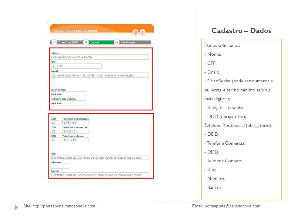 Cadastro – Dados Dados solicitados: - Nome; - CPF; - Email; - Criar Senha (pode ser números e ou letras e ter no mínimo seis ou mais dígitos); - Redig
