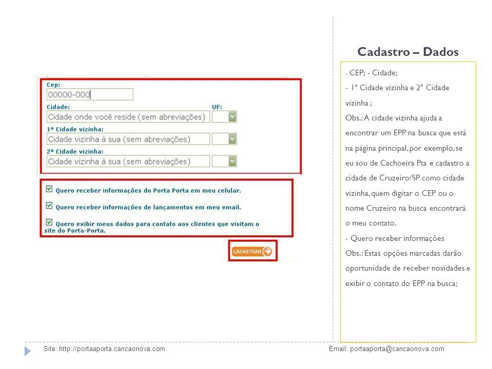 Cadastro – Confirmação Após finalizado o cadastro no site é enviado automaticamente para o e- mail cadastrado a confirmação; Site: http://portaaporta.cancaonova.com Email: portaaporta@cancaonova.com