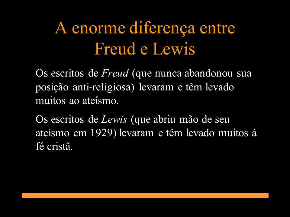 A enorme diferença entre Freud e Lewis Os escritos de Freud (que nunca abandonou sua posição anti-religiosa) levaram e têm levado muitos ao ateísmo. O