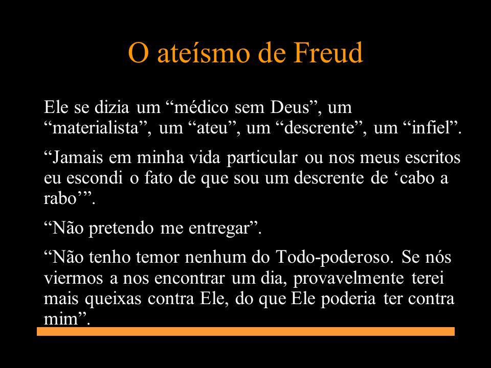 O ateísmo de Freud Ele se dizia um médico sem Deus, um materialista, um ateu, um descrente, um infiel. Jamais em minha vida particular ou nos meus esc