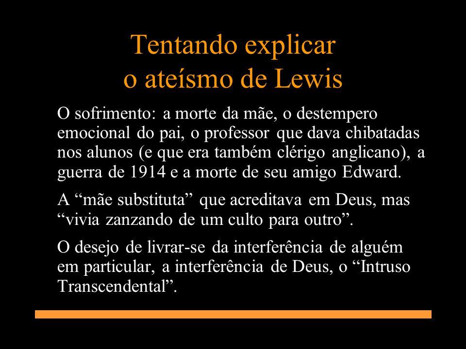 Tentando explicar o ateísmo de Lewis O sofrimento: a morte da mãe, o destempero emocional do pai, o professor que dava chibatadas nos alunos (e que er