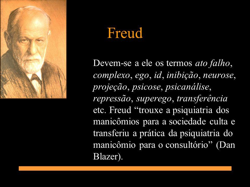 Freud Devem-se a ele os termos ato falho, complexo, ego, id, inibição, neurose, projeção, psicose, psicanálise, repressão, superego, transferência etc