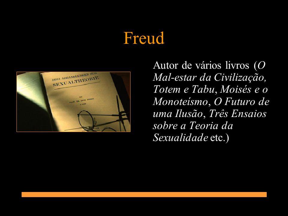 Freud Autor de vários livros (O Mal-estar da Civilização, Totem e Tabu, Moisés e o Monoteísmo, O Futuro de uma Ilusão, Três Ensaios sobre a Teoria da