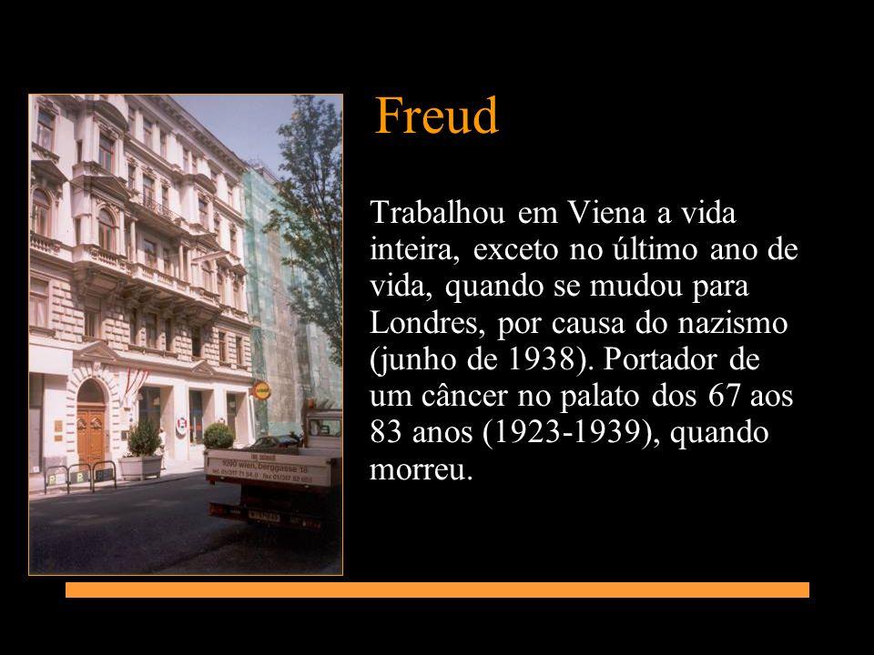 Freud Trabalhou em Viena a vida inteira, exceto no último ano de vida, quando se mudou para Londres, por causa do nazismo (junho de 1938). Portador de