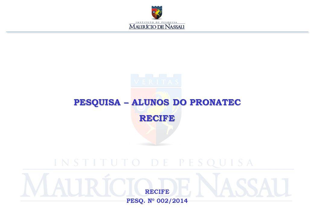 PESQUISA – ALUNOS DO PRONATEC RECIFE RECIFE PESQ. Nº 002/2014