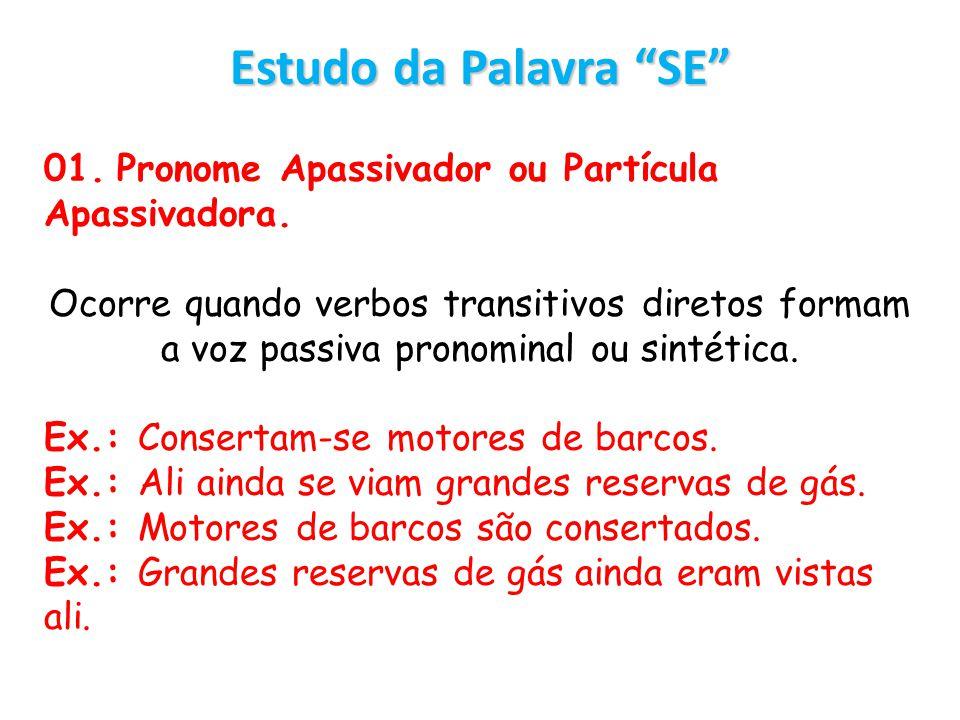Estudo da Palavra SE 01. Pronome Apassivador ou Partícula Apassivadora. Ocorre quando verbos transitivos diretos formam a voz passiva pronominal ou si