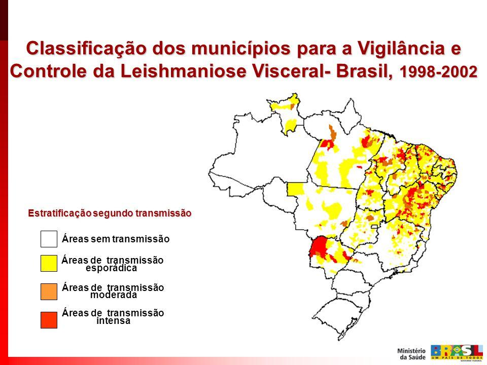 Classificação dos municípios para a Vigilância e Controle da Leishmaniose Visceral- Brasil, 1998-2002 Áreas de transmissão esporádica Áreas sem transmissão Áreas de transmissão moderada Áreas de transmissão intensa Estratificação segundo transmissão