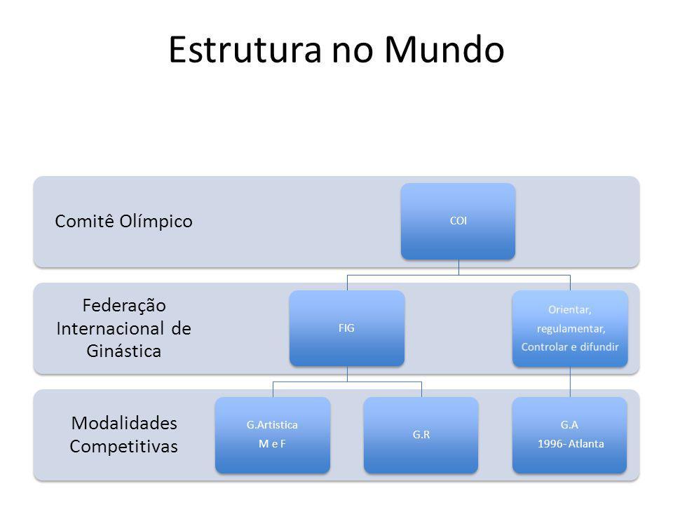 Estrutura no Mundo Modalidades Competitivas Federação Internacional de Ginástica Comitê Olímpico COIFIG G.Artistica M e F G.R Orientar, regulamentar, Controlar e difundir G.A 1996- Atlanta