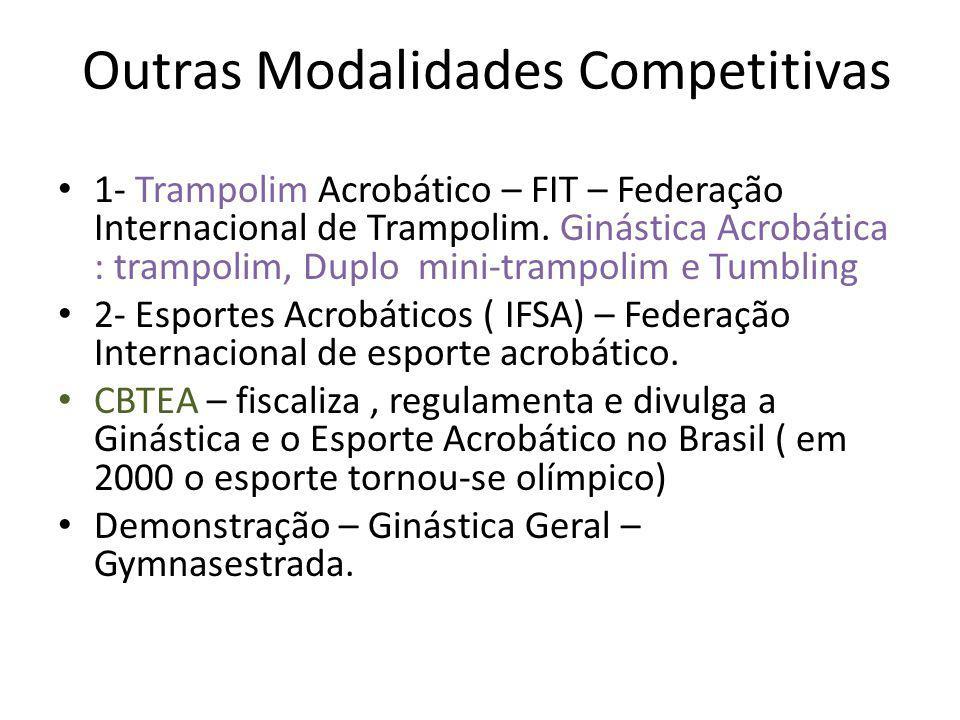 Outras Modalidades Competitivas 1- Trampolim Acrobático – FIT – Federação Internacional de Trampolim. Ginástica Acrobática : trampolim, Duplo mini-tra