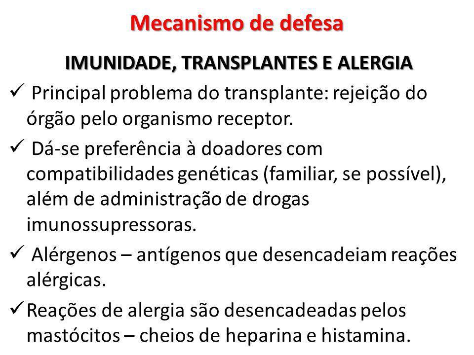 IMUNIDADE, TRANSPLANTES E ALERGIA Principal problema do transplante: rejeição do órgão pelo organismo receptor. Dá-se preferência à doadores com compa