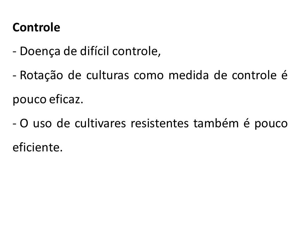Controle - Doença de difícil controle, - Rotação de culturas como medida de controle é pouco eficaz. - O uso de cultivares resistentes também é pouco