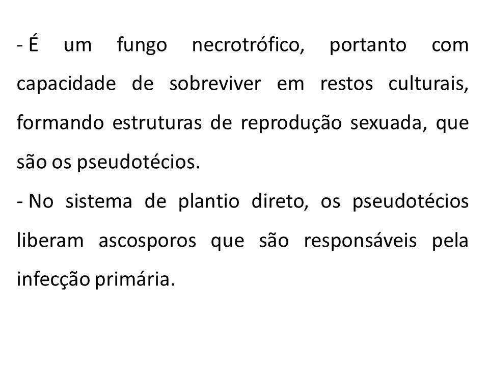 - É um fungo necrotrófico, portanto com capacidade de sobreviver em restos culturais, formando estruturas de reprodução sexuada, que são os pseudotéci