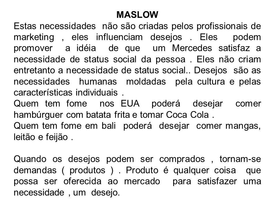 MASLOW Estas necessidades não são criadas pelos profissionais de marketing, eles influenciam desejos.