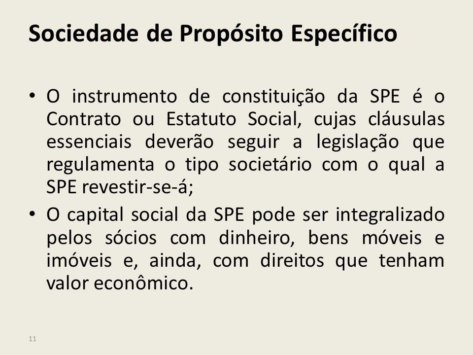11 Sociedade de Propósito Específico O instrumento de constituição da SPE é o Contrato ou Estatuto Social, cujas cláusulas essenciais deverão seguir a